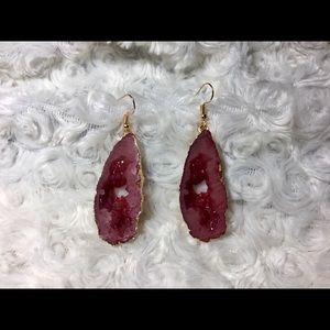 Garnet Geode Druzy Earrings